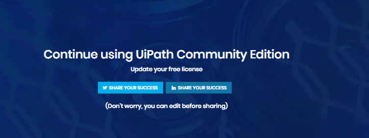 UiPath Community Edition License Renewal - Learn RPA online free
