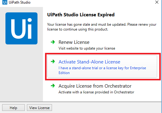 UiPath studio License Expired